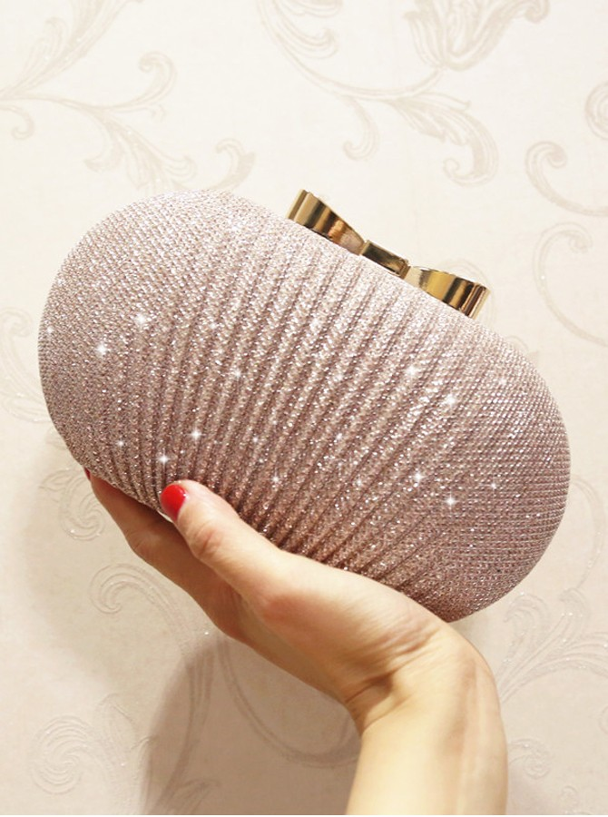 Champagne Metal Clutch/Satchel