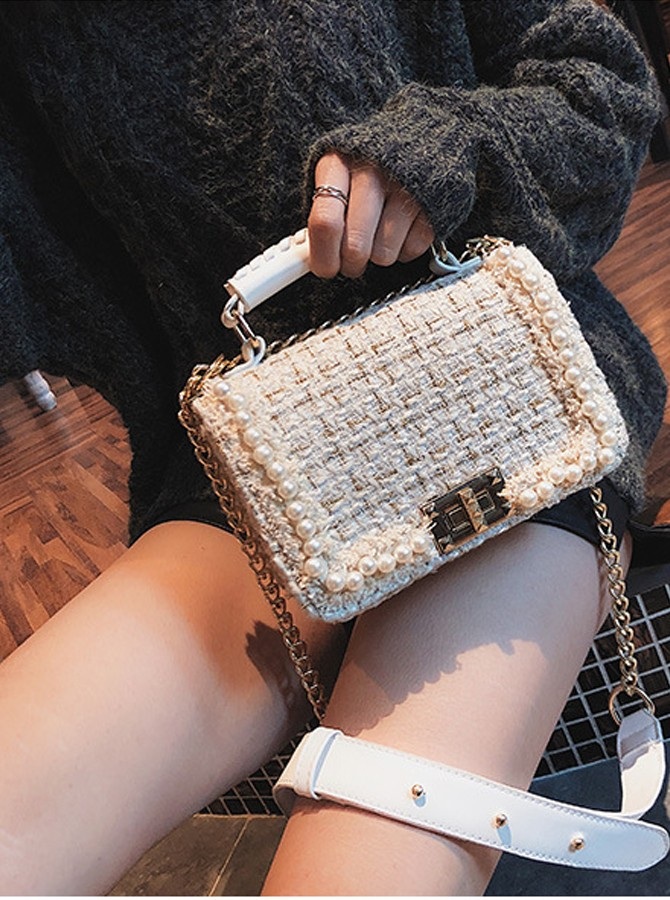 Ivory Wooden Pearls Clutch