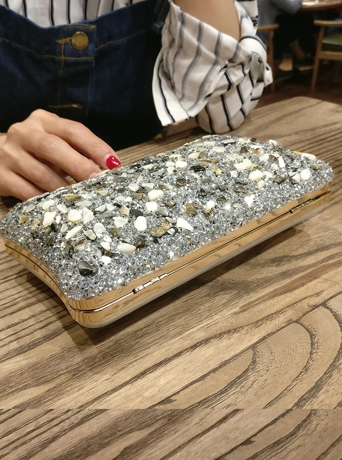 Silver Crystal Clutch Bag