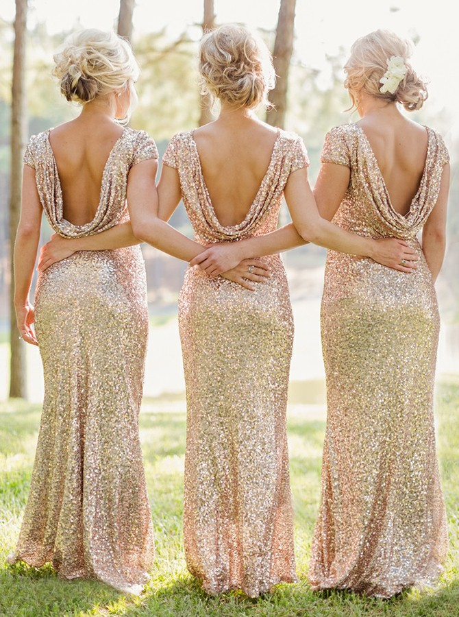 Mermaid Bateau Backless Cap Sleeves Gold Sequined Bridesmaid Dress