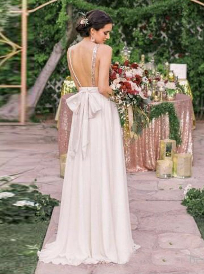 A-Line V-Neck Backless White Bridesmaid Dress with Sequins Bowknot