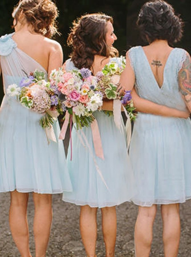 A-Line V-Neck Knee-Length Light Blue Bridesmaid Dress with Lace Pleats