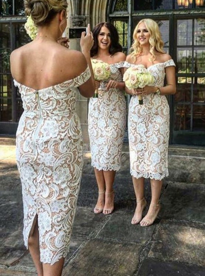 Sheath Off-the-Shoulder Mid-Calf White Lace Bridesmaid Dress