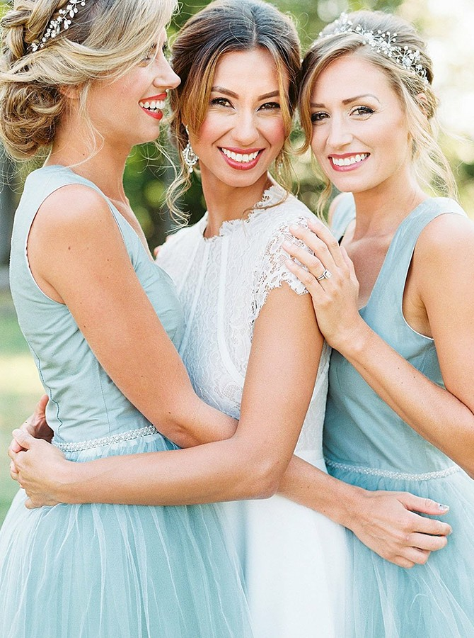 A-Line Square High Low Light Blue Bridesmaid Dress with Beading