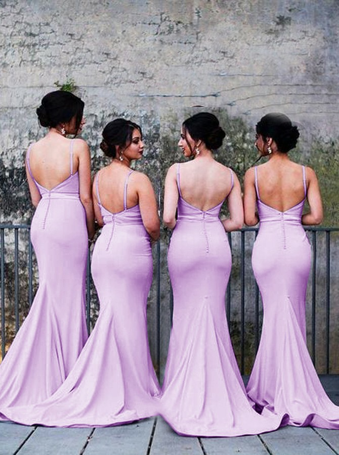Mermaid Spaghetti Straps Backless Lilac Bridesmaid Dress with Pleats