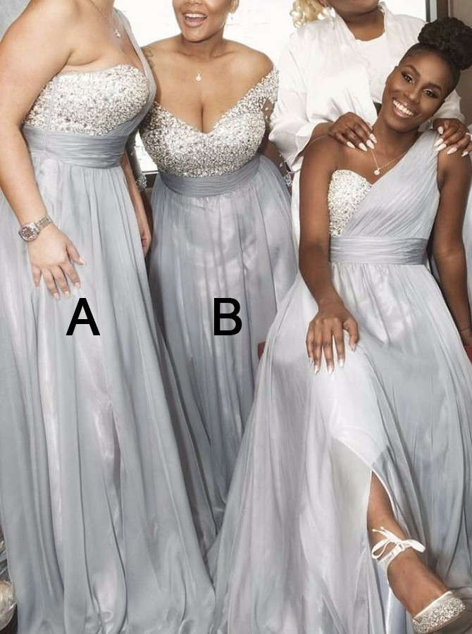 A-Line One-Shoulder Sweep Train Silver Bridesmaid Dress with Beading