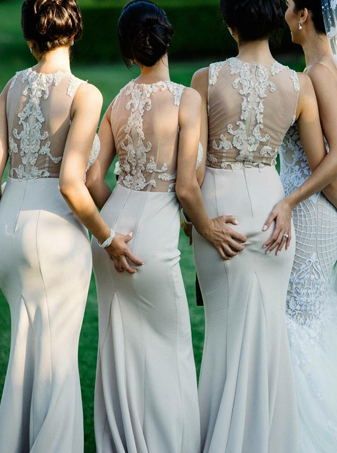 Mermaid Round Neck Sweep Train Ivory Bridesmaid Dress with Appliques