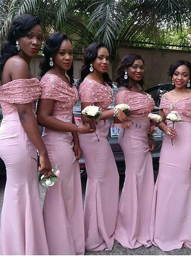 Mermaid Off-the-Shoulder Sweep Train Pink Bridesmaid Dress with Lace Beading