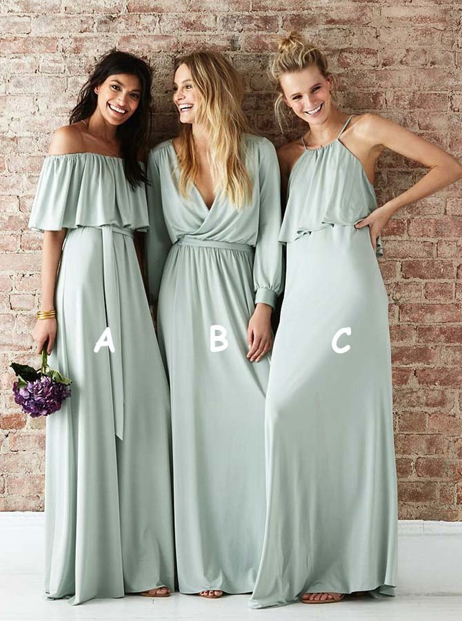Off-the-Shoulder A-Line Sage Floor-Length Bridesmaid Dress with Ruffles