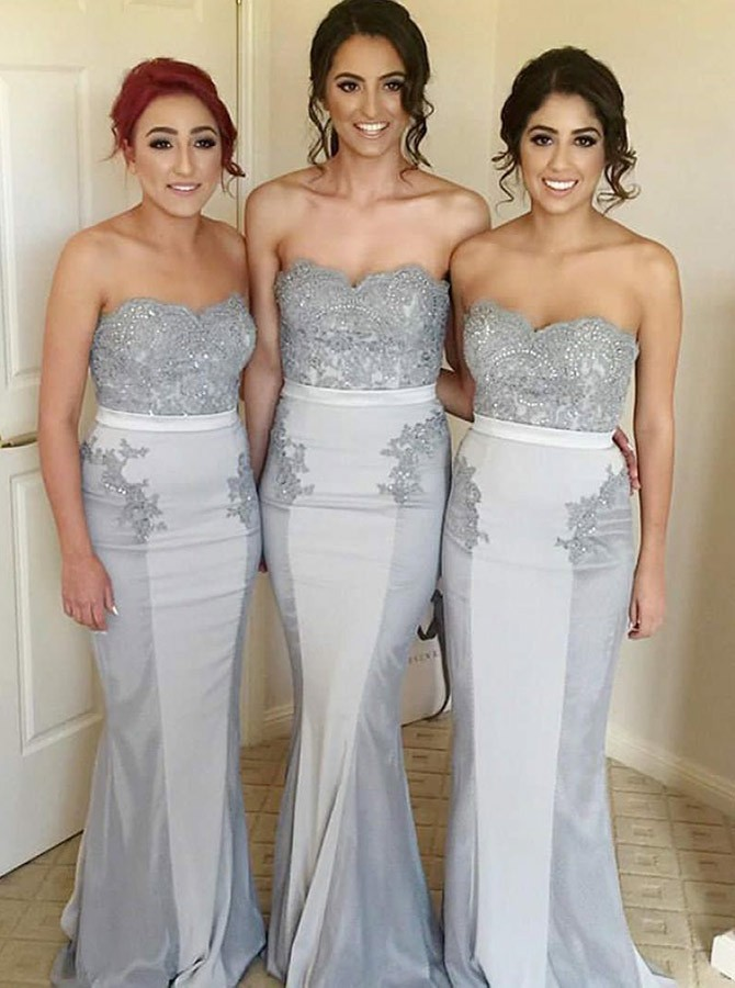 Mermaid Sweetheart Long Grey Bridesmaid Dress with Lace Beading
