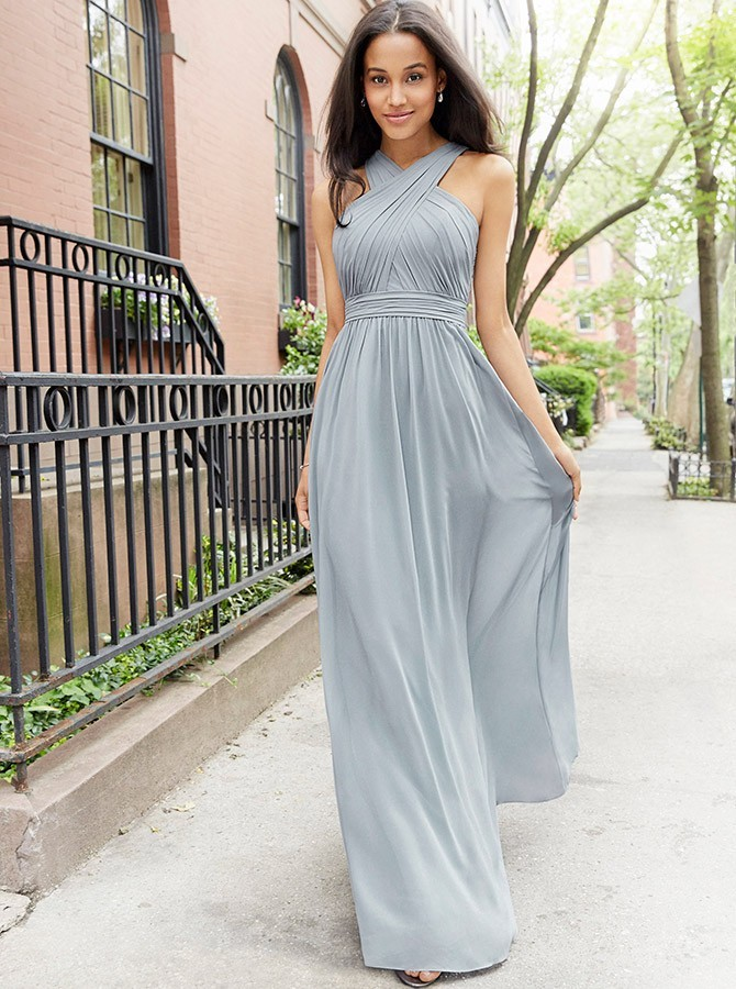 A-Line Floor-Length Grey Chiffon Bridesmaid Dress with Pleates