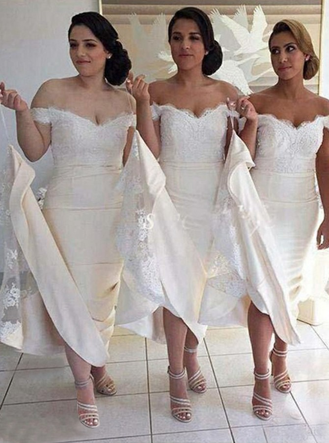 Mermaid Off-the-Shoulder Sweep Train Ivory Bridesmaid Dress with Appliques