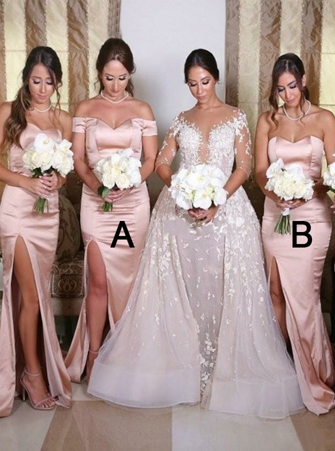 Mermaid Off-the-Shoulder Sweep Train Blush Bridesmaid Dress with Split