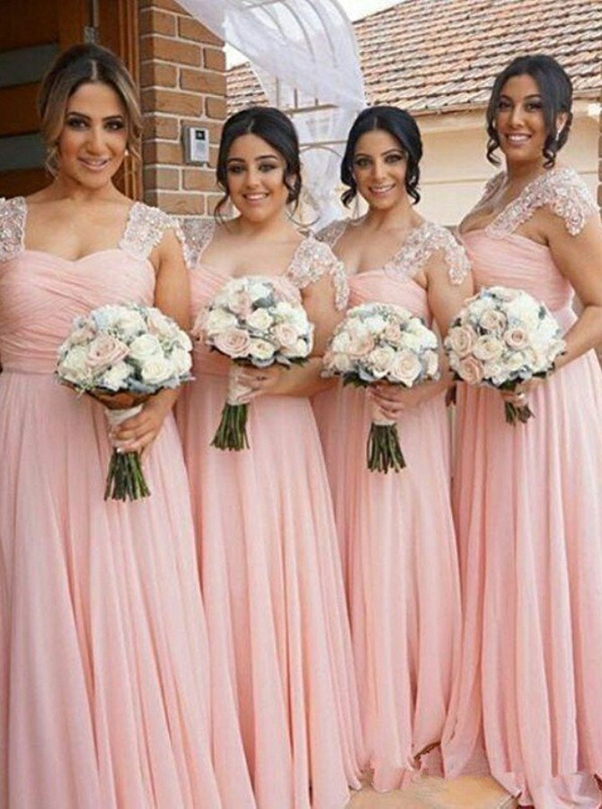 A-Line Straps Sweep Train Pink Chiffon Bridesmaid Dress with Ruched