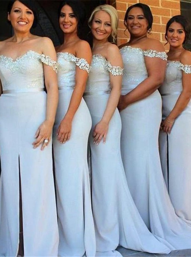 Mermaid Off-the-Shoulder Sweep Train Light Blue Bridesmaid Dress with Appliques