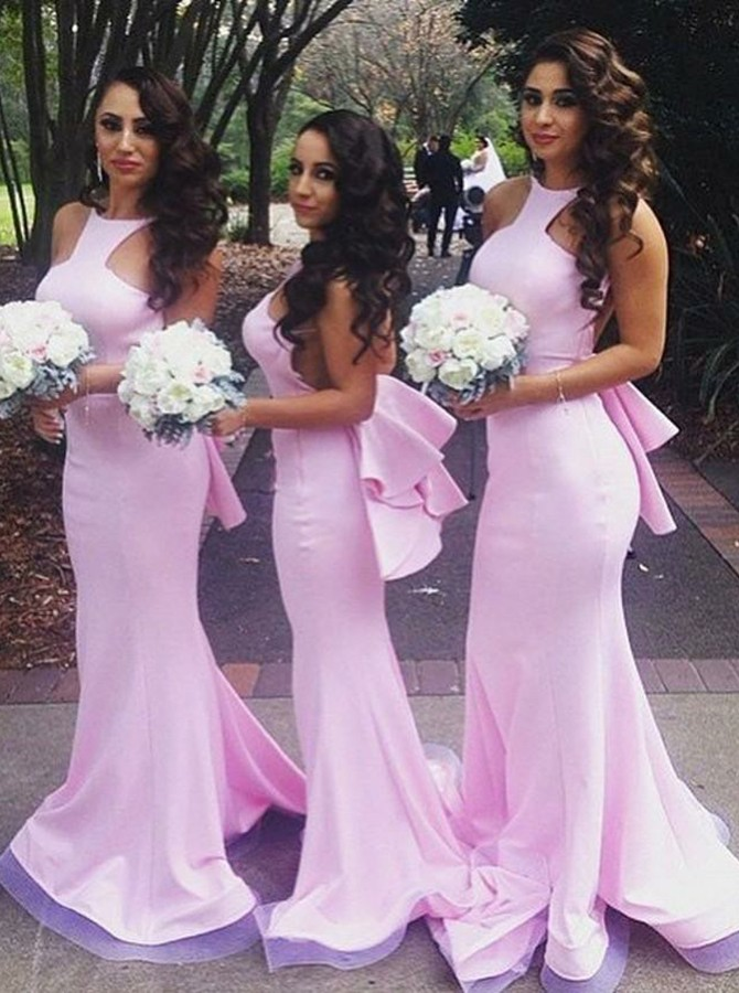 Mermaid Round Neck Backless Pink Bridesmaid Dress with Ruffles