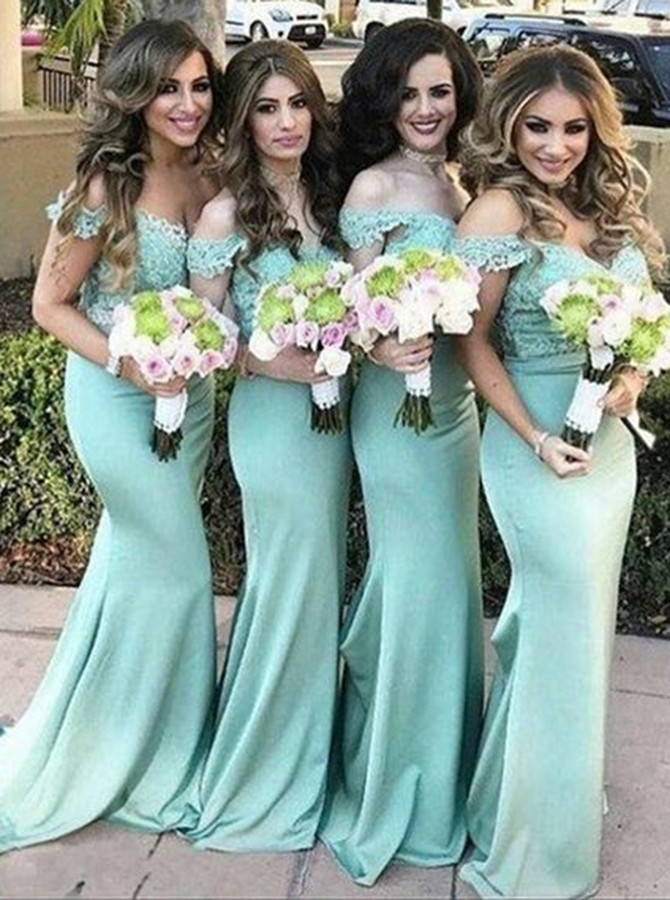 Mermaid Off-the-Shoulder Sweep Train Turquoise Bridesmaid Dress with Appliques