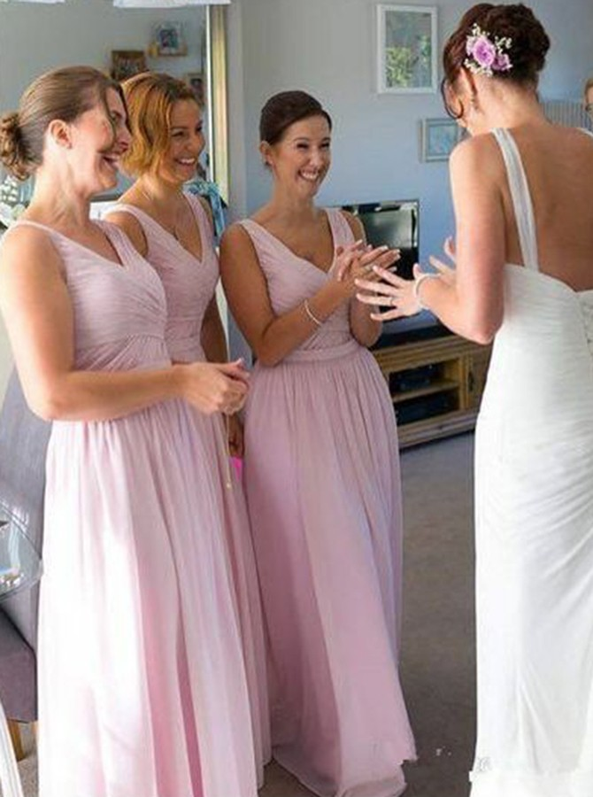 A-Line V-Neck Floor-Length Pink Chiffon Bridesmaid Dress with Ruched