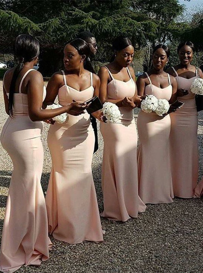 Mermaid Spaghetti Straps Sweep Train Pink Bridesmaid Dress with Ruched