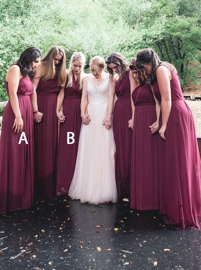 A-Line One-Shoulder Floor-Length Grape Bridesmaid Dress with Pleats