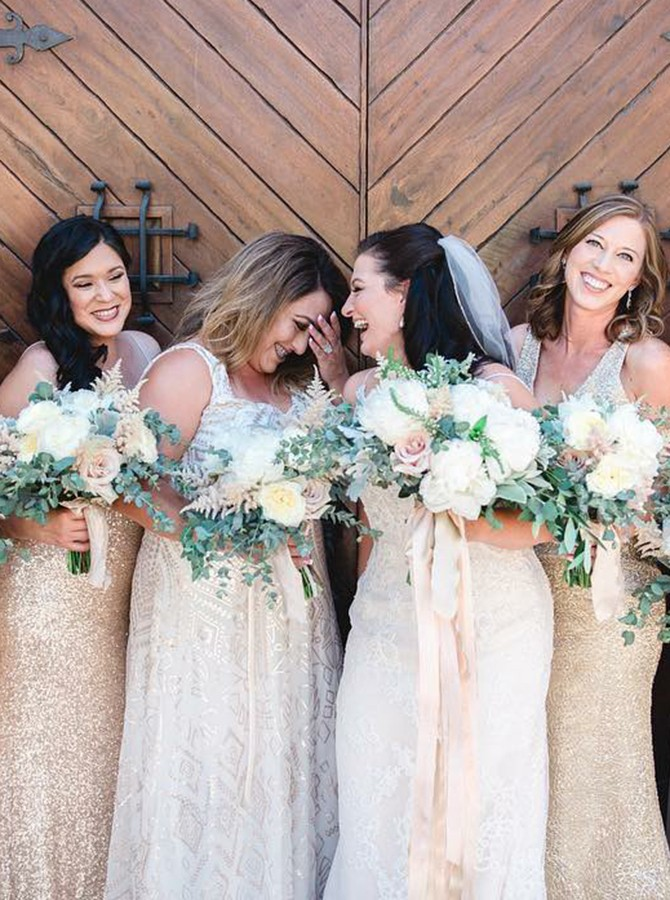 Mermaid One-Shoulder Sweep Train Champagne Sequined Bridesmaid Dress