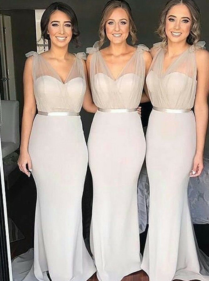 Mermaid V-Neck Sweep Train Grey Bridesmaid Dress with Belt
