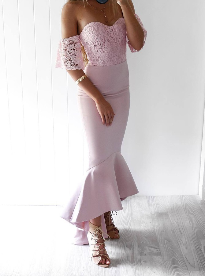 Mermaid Off-the-Shoulder Short Sleeves Pink Bridesmaid Dress with Lace