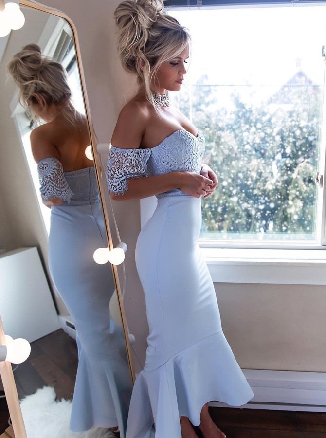 Mermaid Off-the-Shoulder Short Sleeves Light Blue Bridesmaid Dress with Lace