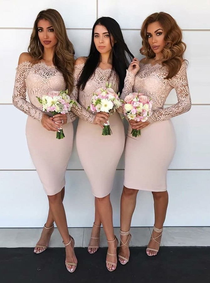 Sheath Off-the-Shoulder Long Sleeves Knee-Length Blush Bridesmaid Dress with Lace