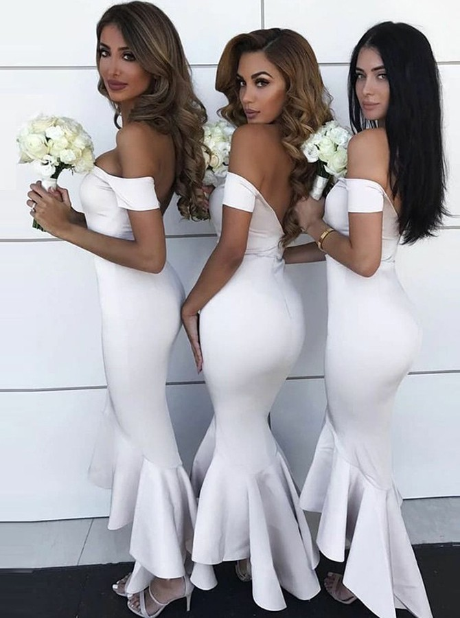 Mermaid Off-the-Shoulder Short Sleeves High Low White Bridesmaid Dress