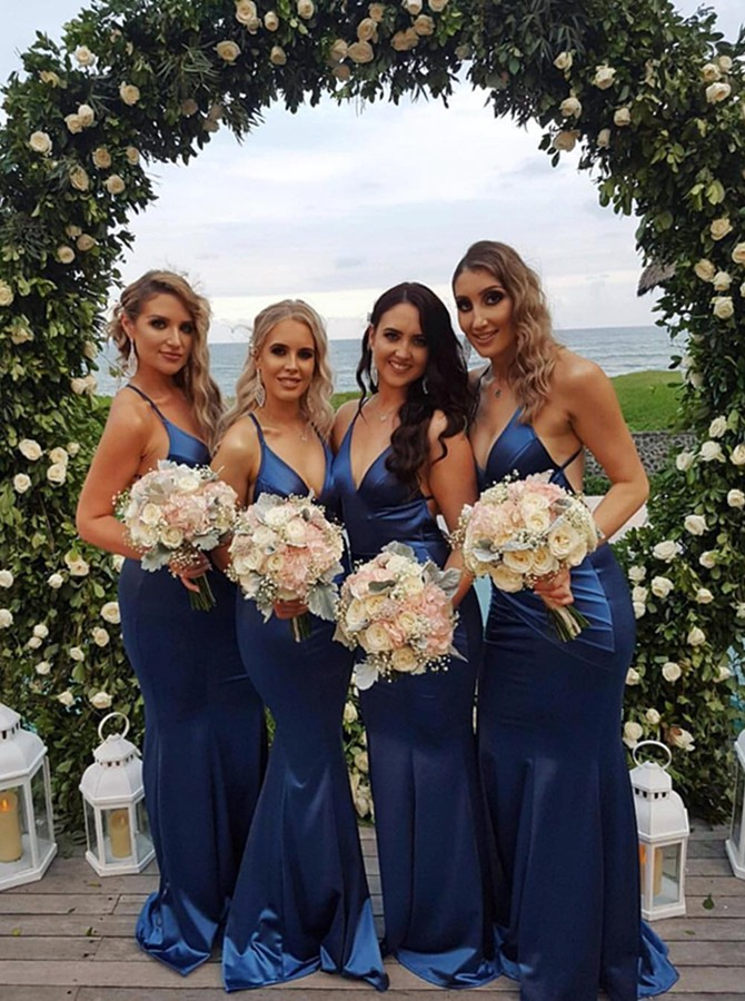 Mermaid V-Neck Backless Sweep Train Dark Blue Bridesmaid Dress with Ruched
