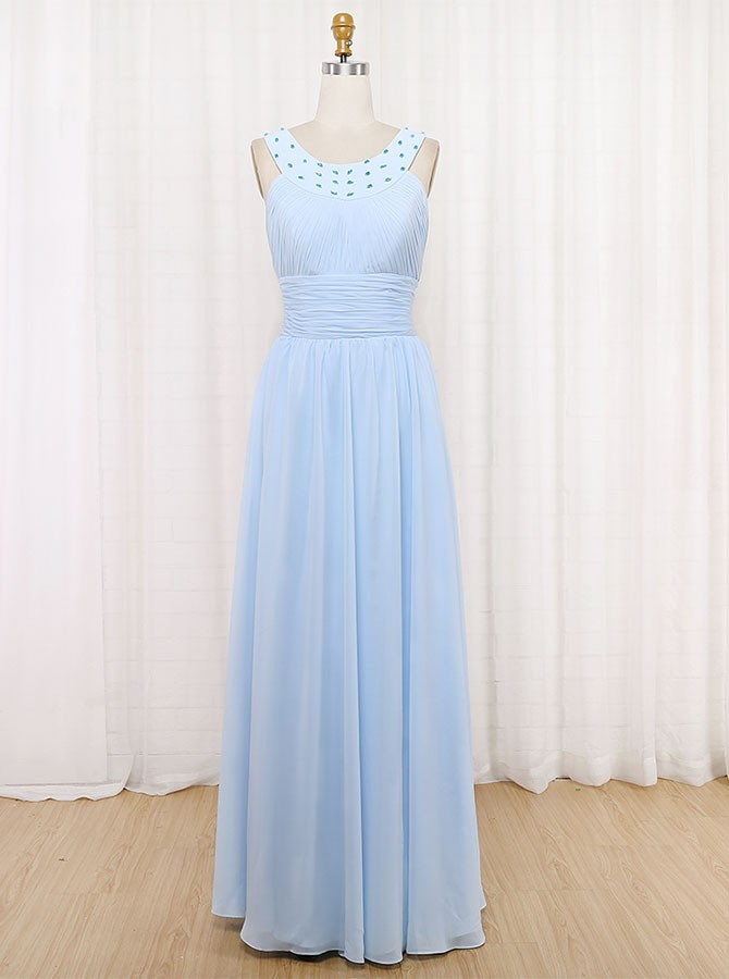 A-Line Round Neck Floor-Length Bridesmaid Dress with Beading