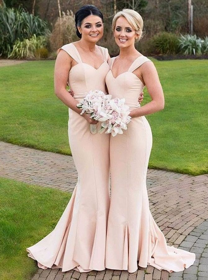 Mermaid Square Sweep Train Champagne Stretch Satin Bridesmaid Dress