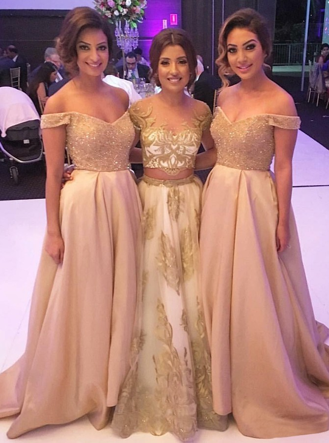 A-Line Off-the-Shoulder Champagne Bridesmaid Dress with Sequins Pockets