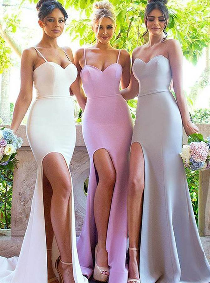Mermaid Spaghetti Straps Ivory Stretch Satin Bridesmaid Dress with Split