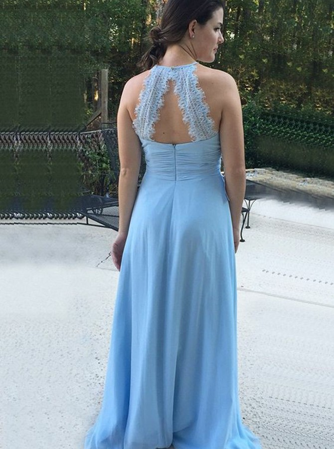 A-Line Round Neck Open Back Light Blue Bridesmaid Dress with Ruched