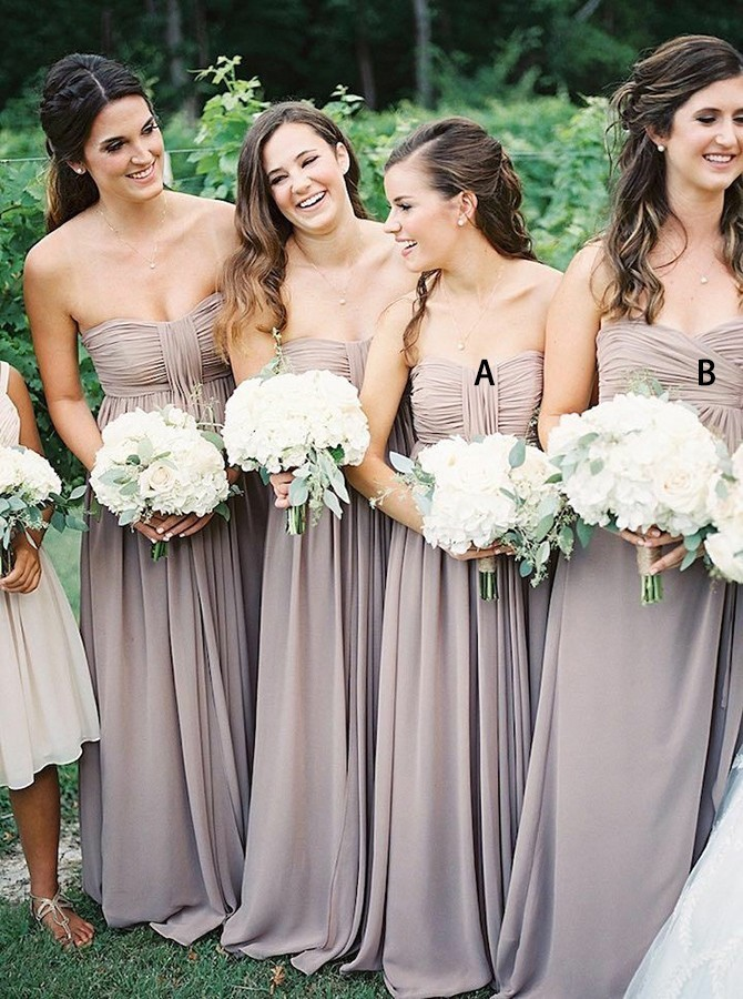 A-Line Strapless Floor-Length Grey Chiffon Bridesmaid Dress with Ruched