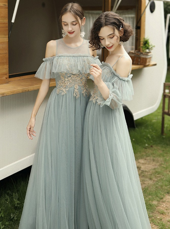 Fancy Cold Shoulder Grey Floor-Length Long Sleeves Wedding Party Bridesmaid Dress