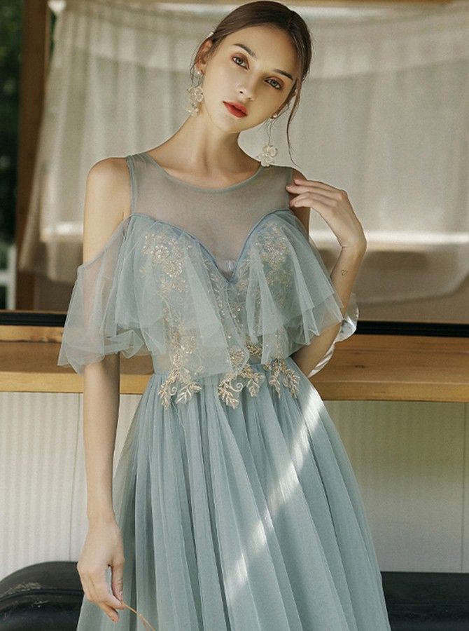 Fancy Cold Shoulder Grey Floor-Length Wedding Party Bridesmaid Dress with Appliques