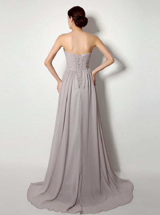 Simple Strapless Sweep Train Grey Chiffon Ruched Lace-up Bridesmaid Dress