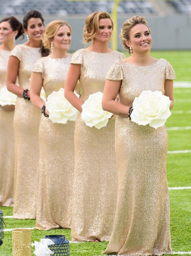 Sheath Round Neck Cap Sleeves Floor-Length Sequined Champagne Bridesmaid Dress