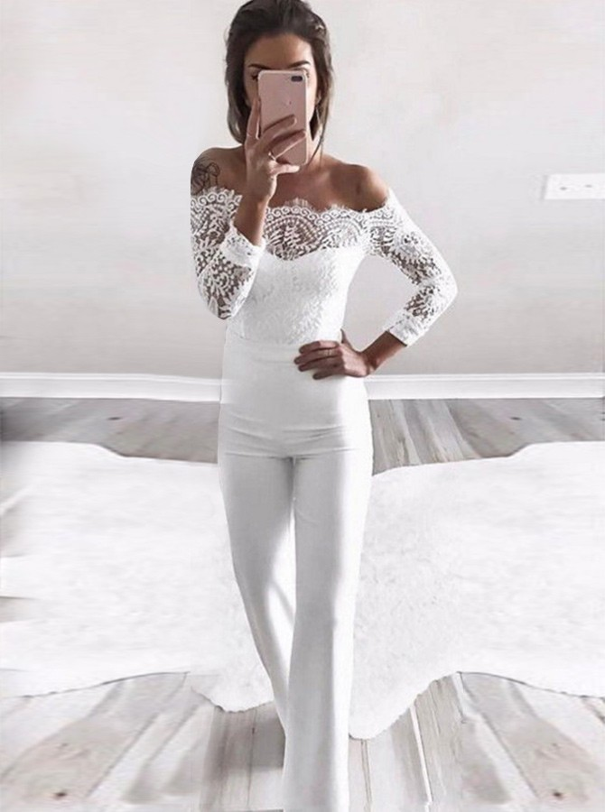 Sheath Off-the-Shoulder Long Sleeves White Bridesmaid Jumpsuit with Lace