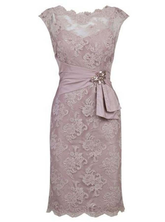 Sheath Scalloped-Edge Short Cap Sleeves Grey Lace Mother of The Bride Dress