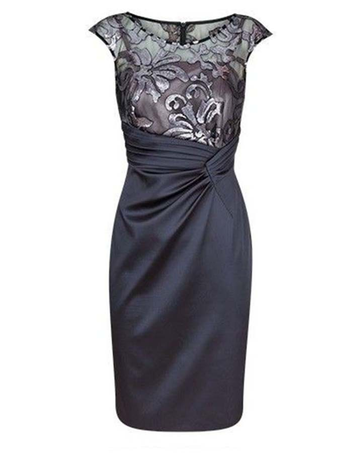 Dark Grey Sheath Short Mother of The Bride Dress Ruched with Lace
