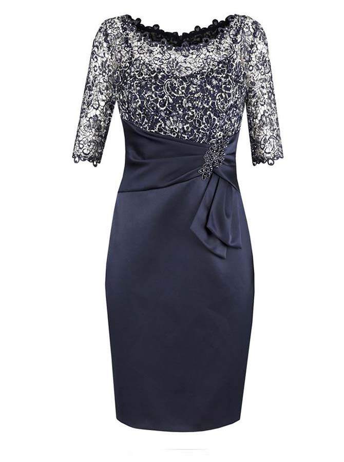 Sheath Bateau Half Sleeves Navy Blue Mother of The Bride Dress with Lace Beading
