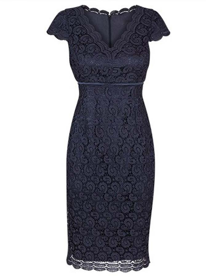 Bodycon V-Neck Cap Sleeves Navy Blue Lace Mother of The Bride Dress