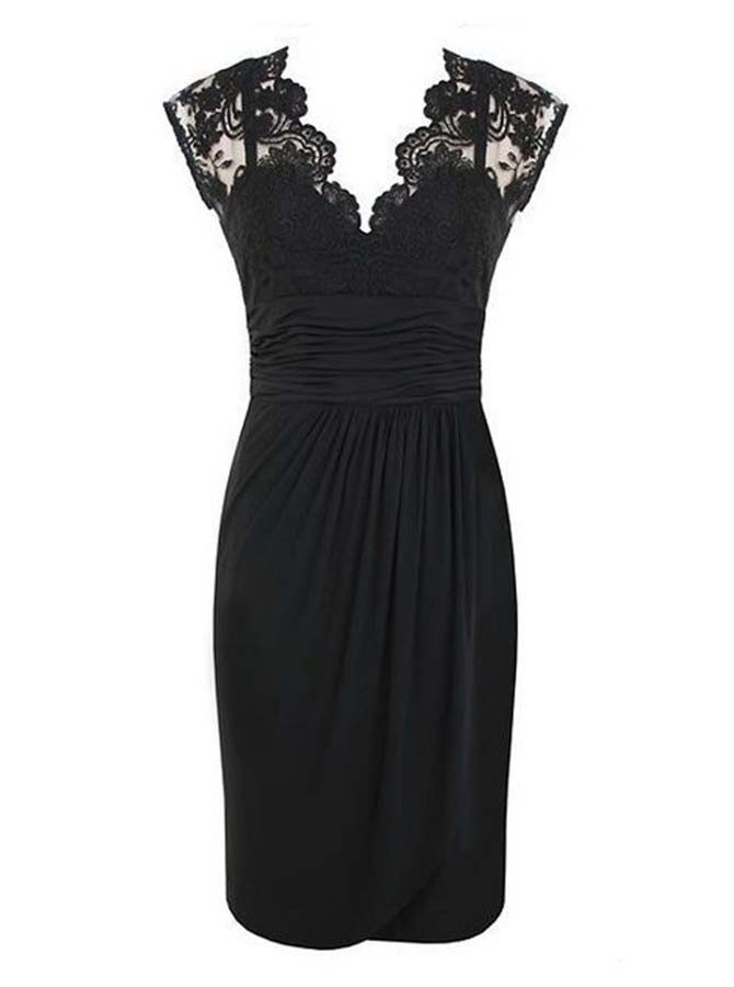 Sheath V-Neck Cap Sleeves Black Spandex Mother of The Bride Dress with Lace