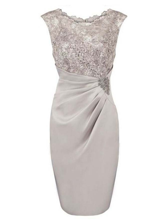 Sheath Bateau Cap Sleeves Silver Mother of The Bride Dress with Sequins