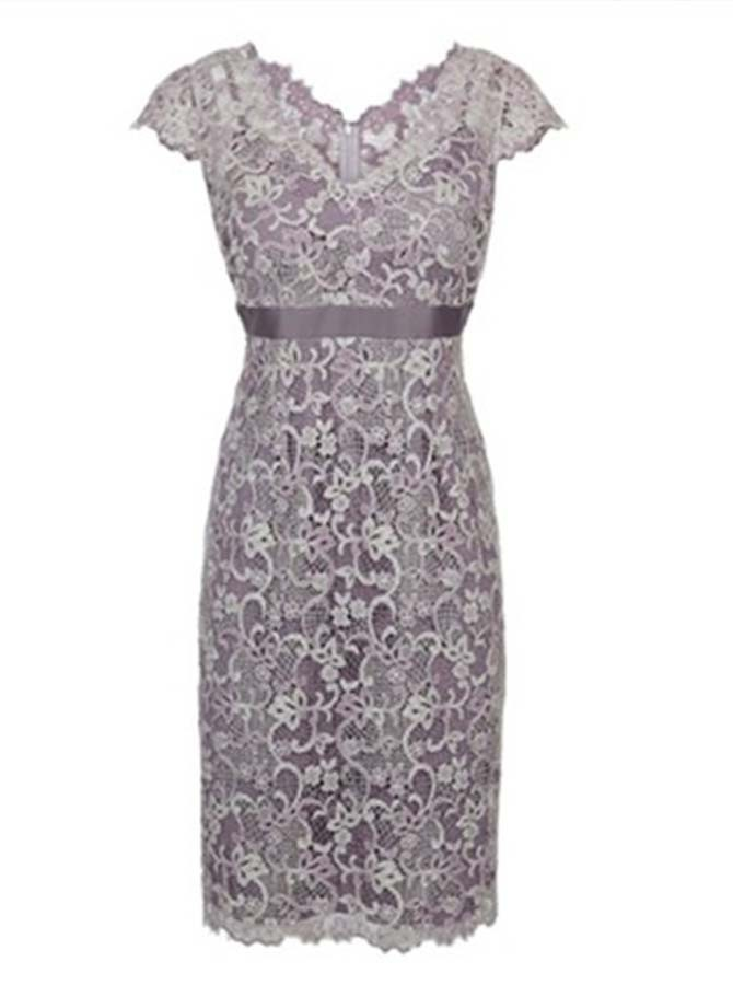 Sheth V-Neck Cap Sleeves Short Grey Lace Mother of The Bride Dress with Sash