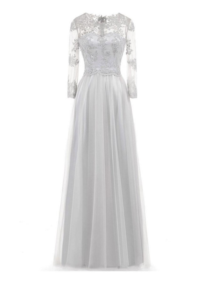 A-line Jewel Floor Length Tulle Mother of the Bride Dress with Appliques